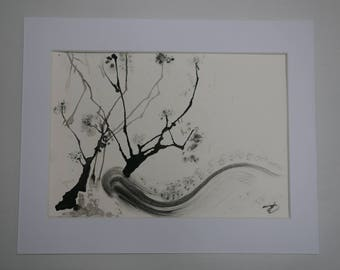 Charcoal and ink painting, inspired by trees and nature