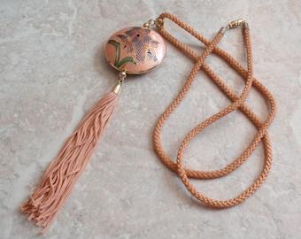 Pink Cloisonne Necklace Tassel Floral Long Asian Inspired Vintage 071715SB