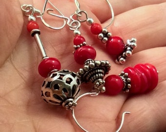 8 different Red Coral Earrings, Sterling Silver. free US ship