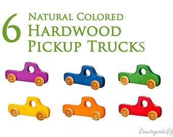 Wooden Toy Truck - Natural & Organic Wooden Toy Truck for Toddlers, Kids, Children,Wooden Toy Pickup Truck, Toy Truck, Maple Set of 6 Colors