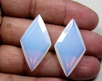 SALE 37.10ct Opalite Rose Cut Loose Gemstone 2 stones Pair- 20x36