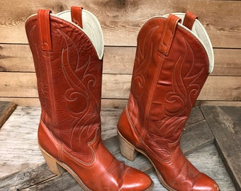 Women's Vintage Dingo Cowgirl Boots Vtg Orange Brown Leather High Heel Country Western Cowboy Boots Size 9 Narrow