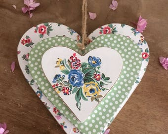 Trio of wooden hanging hearts