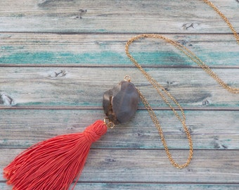 Boho chic tassel necklace  / Agate druzy tassel necklace with coral tassel and gold plated chain