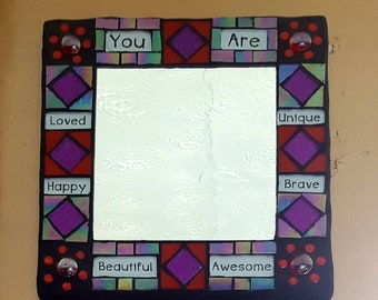 Positive Affirmation Mosaic Mirror Red  & Purple