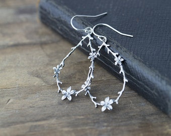 Twig and Blossom Earrings / Large Sterling Silver Botanical Dangle Earrings / Woodland Jewelry