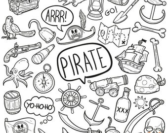 Pirate Adventure Objects Doodle Icons Clipart Scrapbook Set