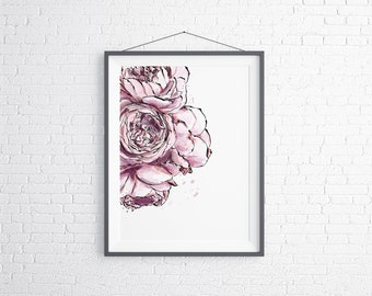 Peony Flower Wall Art, Peony Flower Room Decor, Peony Flower Printable Wall Decor, Peony Flower Downloadable Prints