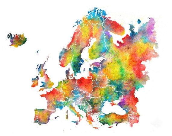 home decor online europe europe watercolor map abstract wall home decor 11056