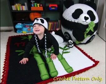 Panda Set - Bean Bag Chair, Hats, Pants, Stuffed Animal, Bamboo Blanket - CROCHET PATTERN