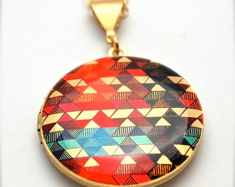 "Locket Necklace Alyson Fox Original Artwork ""Color Study II"""