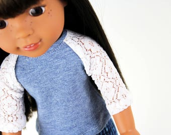 Fits like Wellie Wishers Doll Clothes - The Baseball Raglan Tee in Dusty Heather Blue and Lace   14.5 Inch Doll Clothes