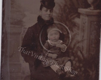 Vintage Tintype Photograph African American Woman and Child