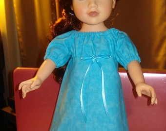 Bright blue Peasant dress for 18 inch Dolls - ag76