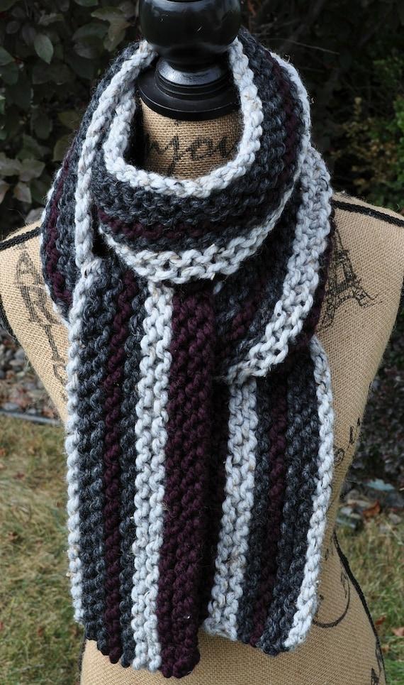 Purple Grey Scarf Chunky Knit Striped Eggplant Plum