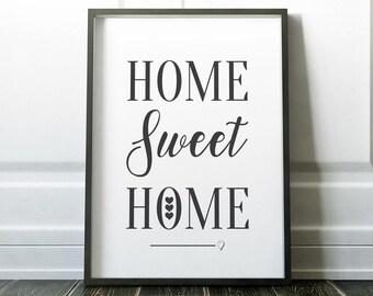 Wall Art Print, Quote Print, Home Sweet Home Print, Home Print, Minimalist Print, Modern Print, Family Print, Wall Art, Minimalist, Prints