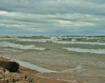 LAKE MICHIGAN STORM--Lake Michigan, Stormy Weather, Berrien County, Michigan Photography, Beach Photography, Nautical, Great Lakes, Seascape