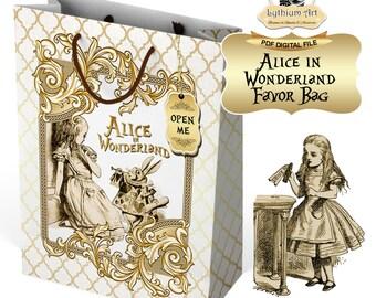 ALICE IN WONDERLAND Party Bag, Alice in Wonderland Party,Alice in Wonderland Party Decoration,Printable Bag,Alice in Wonderland Favors,Alice