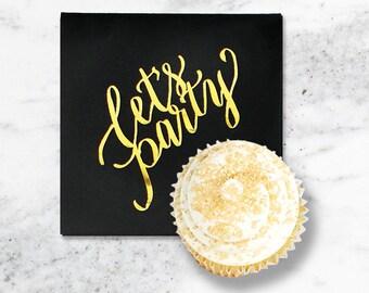 Black Foil Napkins, Gold Foil Napkins, Cocktail Napkins, Black and Gold Party Supplies, Graduation Party