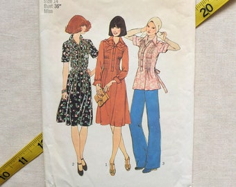 Vintage 1970s Simplicity 7384 Sewing Pattern, Dress, Blouse, Pleated Front, Bust 36 In. 1976, Uncut