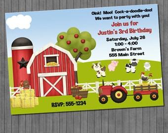 FLASH SALE 60% Off Farm Birthday Invitations