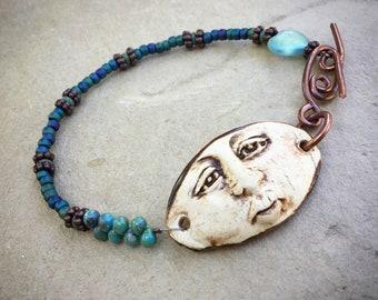 OOAK Artisan Moonface Bracelet