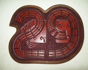 """Hand-Tooled Leather """"29"""" Cribbage Board On Wood"""