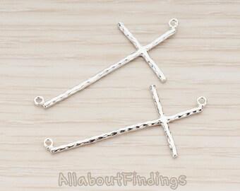 PDT1131-R // Glossy Original Rhodium Plated Large Cross wih Side Loops Pendant, 2 Pc