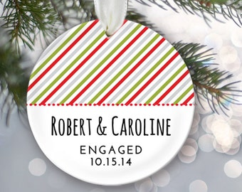 Personalized Engagement Ornament Custom Name & Date Our 1st Christmas Newlywed Ornament Engaged Christmas Ornament Choose Pattern OR178