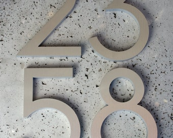 "Modern House Numbers Modern Font Recycled Aluminum Set of 4 numbers 6"" tall"