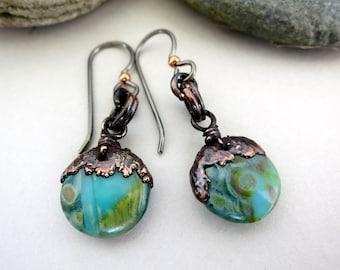 """Mermaid Glass Earrings, Electroformed Copper, Niobium Earwires, 1 1/2"""" Drop, Czech Glass Earrings"""