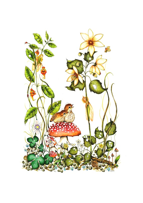 Blank All Occasion Greeting Card- Nature Bird Fairy -Thank You Note -Bird Art