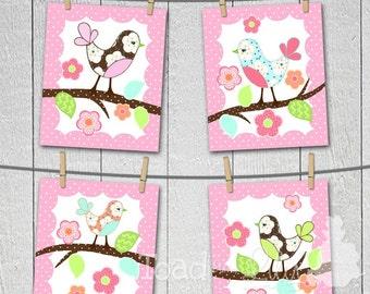 Set of 4 Love Birds Girls Bedroom and Baby Nursery 8 x 10 Wall ART PRINTS