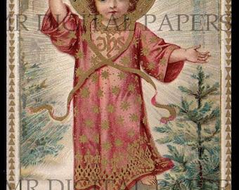 Jesus Holy Prayer Card / Saint Holy Card / Infant Jesus / Prayer Card / 3 sizes / Digital Download / Holy Card Ephemera / Christ Child Card