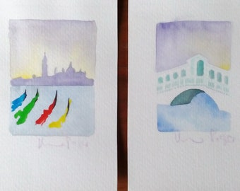 Watercolor paintings views of Venice