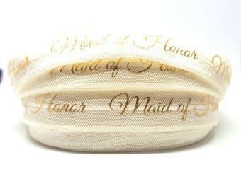 Bridesmaid - wedding witness elastic - printed gold beige / FOE wedding bachelor party Bachelorette witness wedding gift