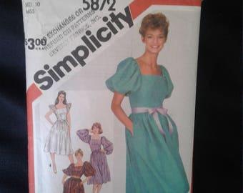 Vintage Simplicity 5872 Dress Pattern - Size 10