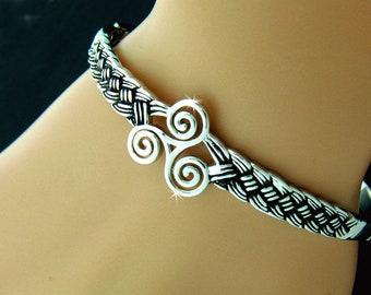 Triskelion Celtic knot Bangle Bracelet, Celtic Jewelry, Irish Jewelry, Irish Bracelet, Scottish, Bracelet, Jewelry (#JPEW7015)