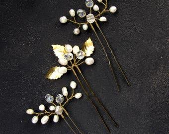 Bridal hair pin Wedding gold hair piece Pearl hair pin Wedding boho headpiece Boho bridal hair piece Gold crystal hair pin Hair piece