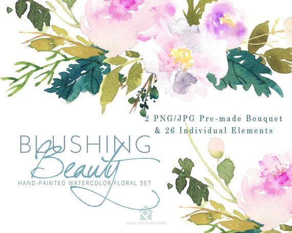 Watercolour Flower Clip Art Collection - Hand Painted Graphics,  pastel flower,  hand drawn clip art,  flower clip art - Blushing Beauty