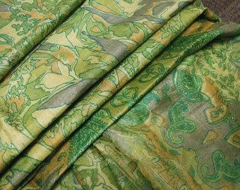 Indian printed Silk sari, 6 yards 42 inches wide, gorgeous piece in lilac, lime, beige and camel colors. (Sari 22).