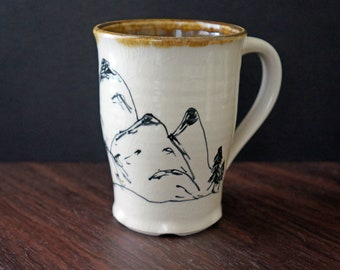 Wanderlust Pottery Coffee Mug - Large Ceramic Coffee Mug - Mountain Mug - Mountains - Gift for Him - Gift for Her - Mother's Day Gift
