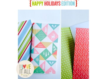Christmas Notebook Jotter Sketchbook,  Midori Fauxdori, Travelers Notebook Insert Refills, Christmas Holiday Edition, Gratitude Journal