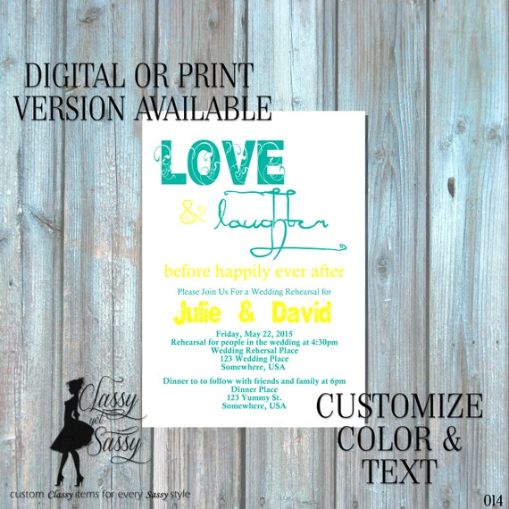 Love and Laughter Before Happily Ever After Invitation, Rehearsal Dinner Invitation, Couples Shower Invitation 014