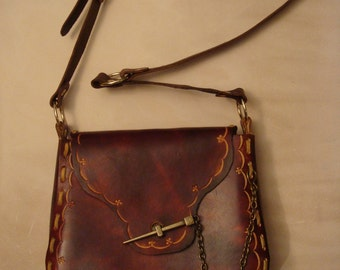 Kim Tooled Brown Leather Crossbody Bag - Shoulder Bag - Purse - Handbag - Fleur de Lis