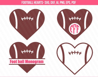 Football heart svg, Football svg cut files, Football love svg, Football heart monogram svg, Cricut, silhouette - svg,dxf,ai,eps,pdf,png