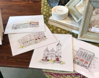 CUSTOM WHOLESALE order, minimum 10 prints per custom building, historic courthouse, storefront, restaurant, or church,Archival Quality 8x10