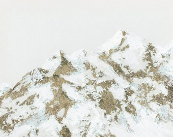 Original Metallic Gold Mountainscape Painting, Healing and Meditation Nature Art