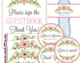 CUSTOM Printable PARTY PACK: Printable Tags, Candy Wrappers, Water Bottle Labels, 8x10 Guestbook Sign, Pink Floral