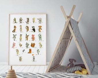 Alphabet - PRINT - Nursery art - Nursery decor - Kids room decor - Children's art - Children's wall art - kids wall art
